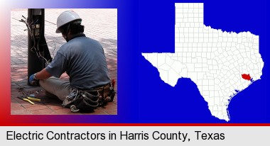 an electrician wearing a tool belt, installing electrical wiring; Harris County highlighted in red on a map