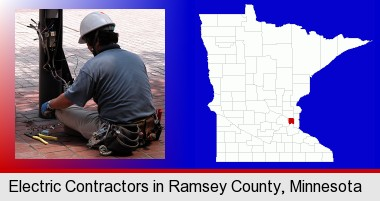 an electrician wearing a tool belt, installing electrical wiring; Ramsey County highlighted in red on a map